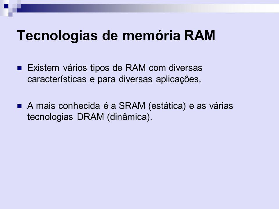 Tecnologias de memória RAM Existem vários tipos de RAM com diversas características e para diversas aplicações. A mais conhecida é a SRAM (estática) e