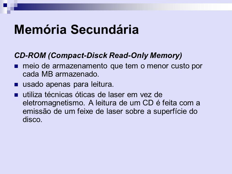 Memória Secundária CD-ROM (Compact-Disck Read-Only Memory) meio de armazenamento que tem o menor custo por cada MB armazenado. usado apenas para leitu