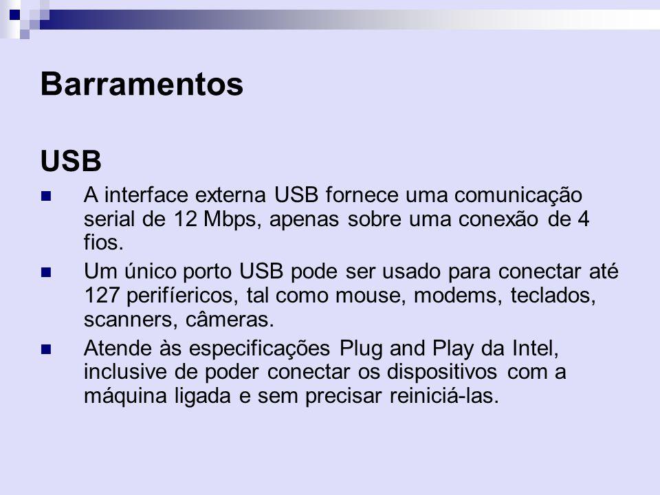 Barramentos USB A interface externa USB fornece uma comunicação serial de 12 Mbps, apenas sobre uma conexão de 4 fios. Um único porto USB pode ser usa