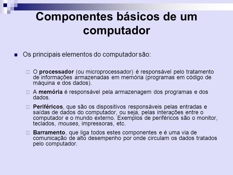 Componentes básicos de um computador Os principais elementos do computador são: O processador (ou microprocessador) é responsável pelo tratamento de i