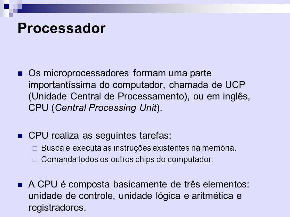 Processador Os microprocessadores formam uma parte importantíssima do computador, chamada de UCP (Unidade Central de Processamento), ou em inglês, CPU