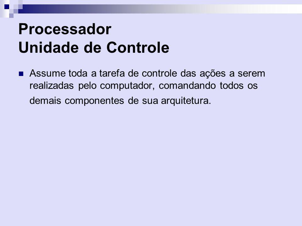 Processador Unidade de Controle Assume toda a tarefa de controle das ações a serem realizadas pelo computador, comandando todos os demais componentes