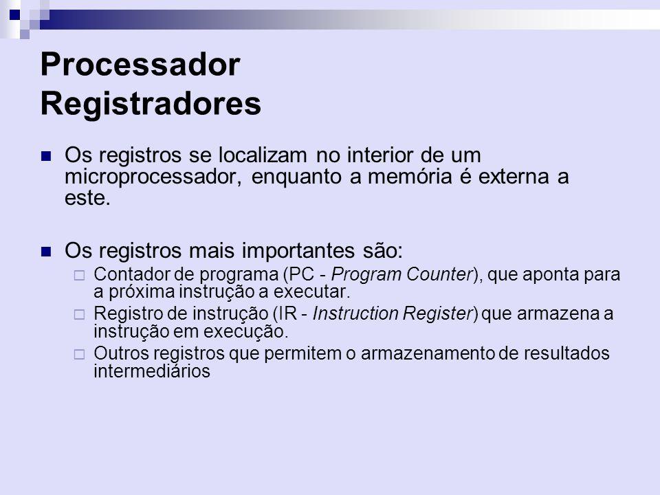 Processador Registradores Os registros se localizam no interior de um microprocessador, enquanto a memória é externa a este. Os registros mais importa
