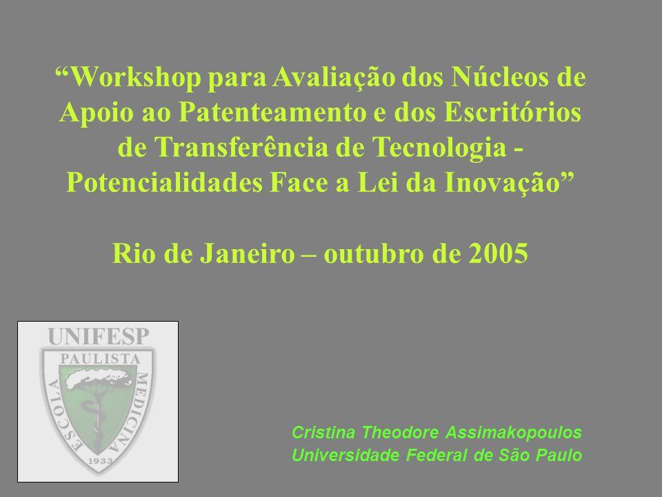 Workshop para Avaliação dos Núcleos de Apoio ao Patenteamento e dos Escritórios de Transferência de Tecnologia - Potencialidades Face a Lei da Inovaçã