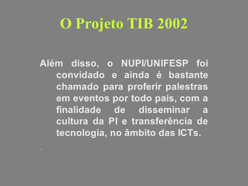 O Projeto TIB 2002 Além disso, o NUPI/UNIFESP foi convidado e ainda é bastante chamado para proferir palestras em eventos por todo país, com a finalid