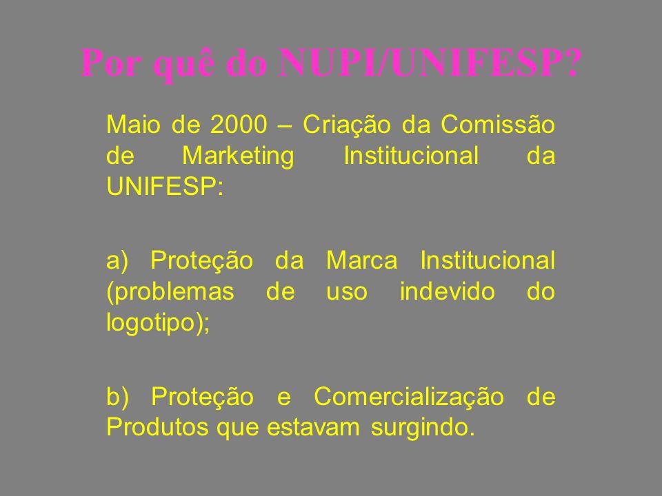 Por quê do NUPI/UNIFESP? Maio de 2000 – Criação da Comissão de Marketing Institucional da UNIFESP: a) Proteção da Marca Institucional (problemas de us