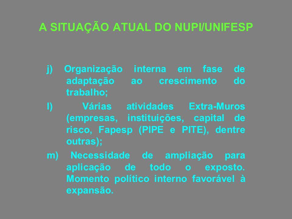 A SITUAÇÃO ATUAL DO NUPI/UNIFESP j) Organização interna em fase de adaptação ao crescimento do trabalho; l) Várias atividades Extra-Muros (empresas, i
