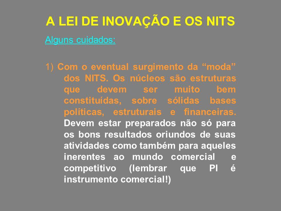 A LEI DE INOVAÇÃO E OS NITS Alguns cuidados: 1) Com o eventual surgimento da moda dos NITS. Os núcleos são estruturas que devem ser muito bem constitu