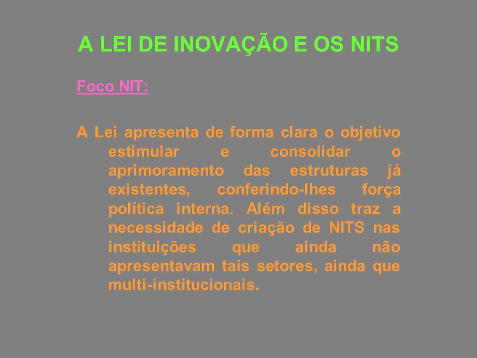 A LEI DE INOVAÇÃO E OS NITS Foco NIT: A Lei apresenta de forma clara o objetivo estimular e consolidar o aprimoramento das estruturas já existentes, c
