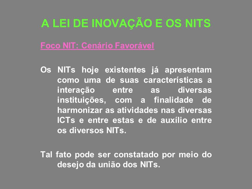 A LEI DE INOVAÇÃO E OS NITS Foco NIT: Cenário Favorável Os NITs hoje existentes já apresentam como uma de suas características a interação entre as di