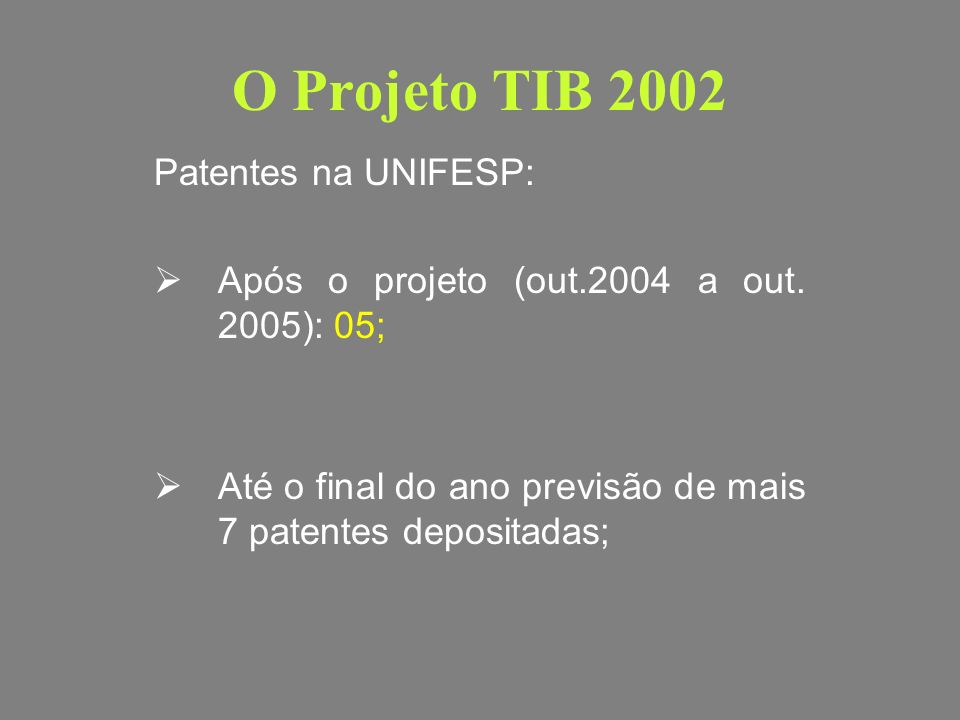 O Projeto TIB 2002 Patentes na UNIFESP: 22 patentes Patentes da UNIFESP em parceria com laboratórios: 05 + 04 em andamento.(exemplos e vantagens) Patentes da UNIFESP em parceria com outras instituições: 10 patentes
