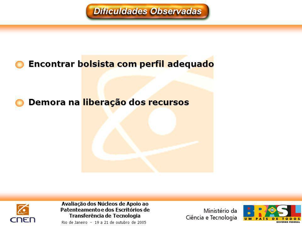 Avaliação dos Núcleos de Apoio ao Patenteamento e dos Escritórios de Transferência de Tecnologia Rio de Janeiro - 19 a 21 de outubro de 2005 Encontrar bolsista com perfil adequado Demora na liberação dos recursos