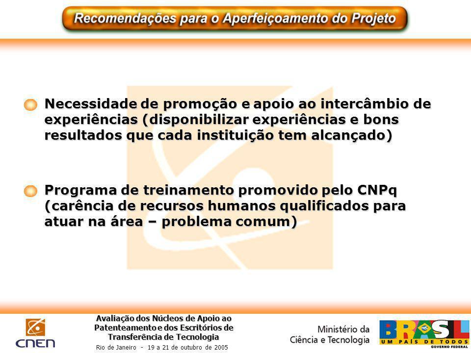 Avaliação dos Núcleos de Apoio ao Patenteamento e dos Escritórios de Transferência de Tecnologia Rio de Janeiro - 19 a 21 de outubro de 2005 Necessida