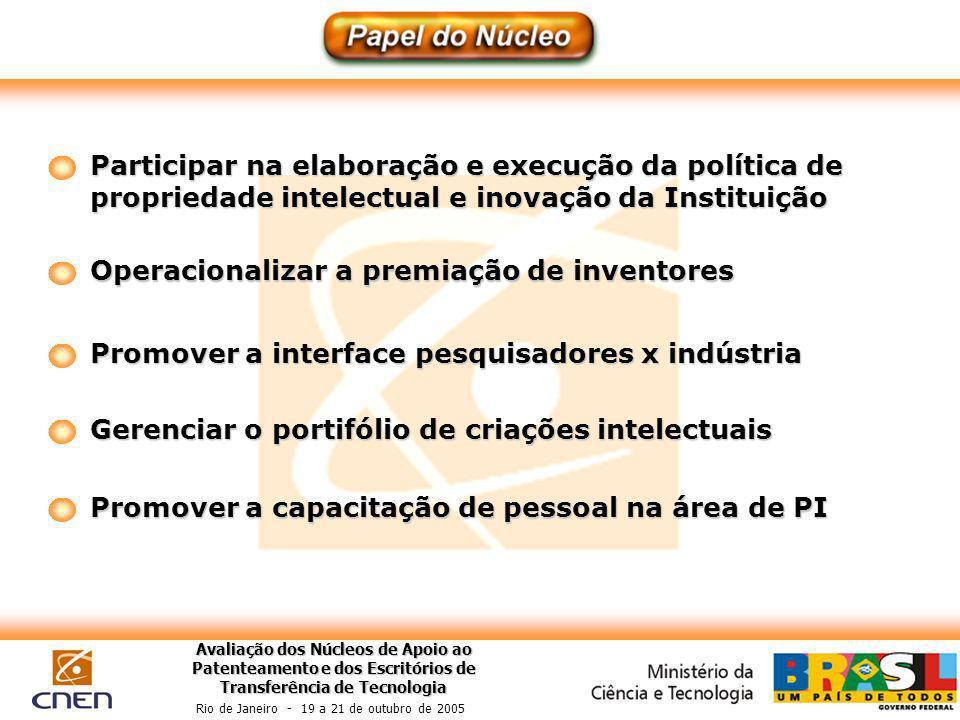 Avaliação dos Núcleos de Apoio ao Patenteamento e dos Escritórios de Transferência de Tecnologia Rio de Janeiro - 19 a 21 de outubro de 2005 Participa