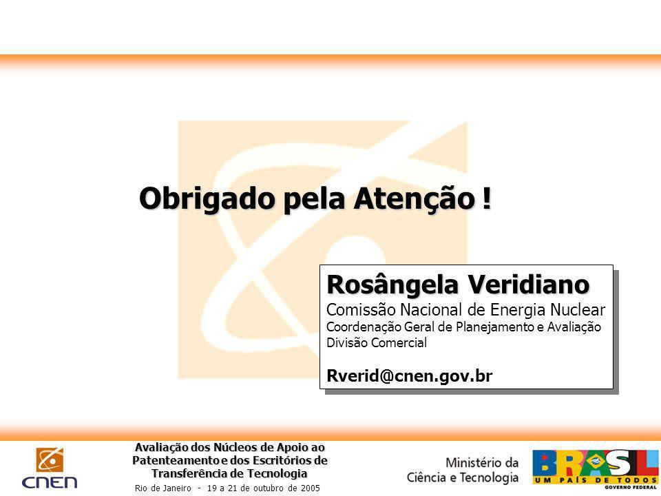 Avaliação dos Núcleos de Apoio ao Patenteamento e dos Escritórios de Transferência de Tecnologia Rio de Janeiro - 19 a 21 de outubro de 2005 Obrigado pela Atenção .