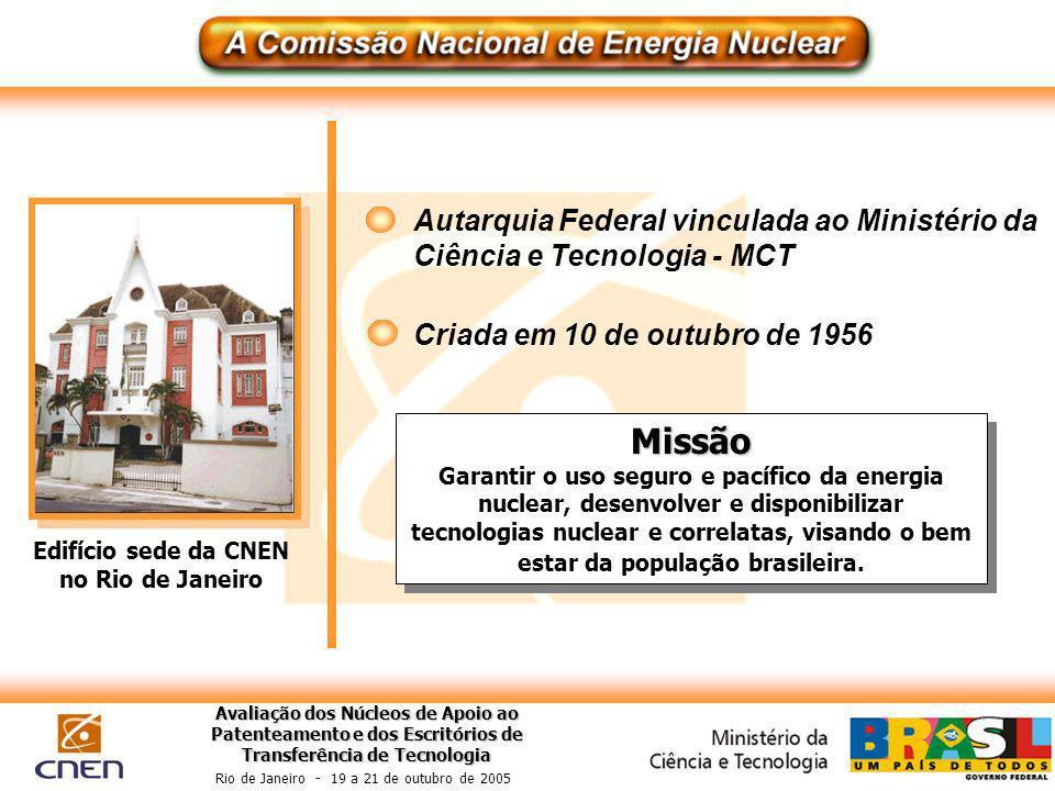 Avaliação dos Núcleos de Apoio ao Patenteamento e dos Escritórios de Transferência de Tecnologia Rio de Janeiro - 19 a 21 de outubro de 2005 Edifício