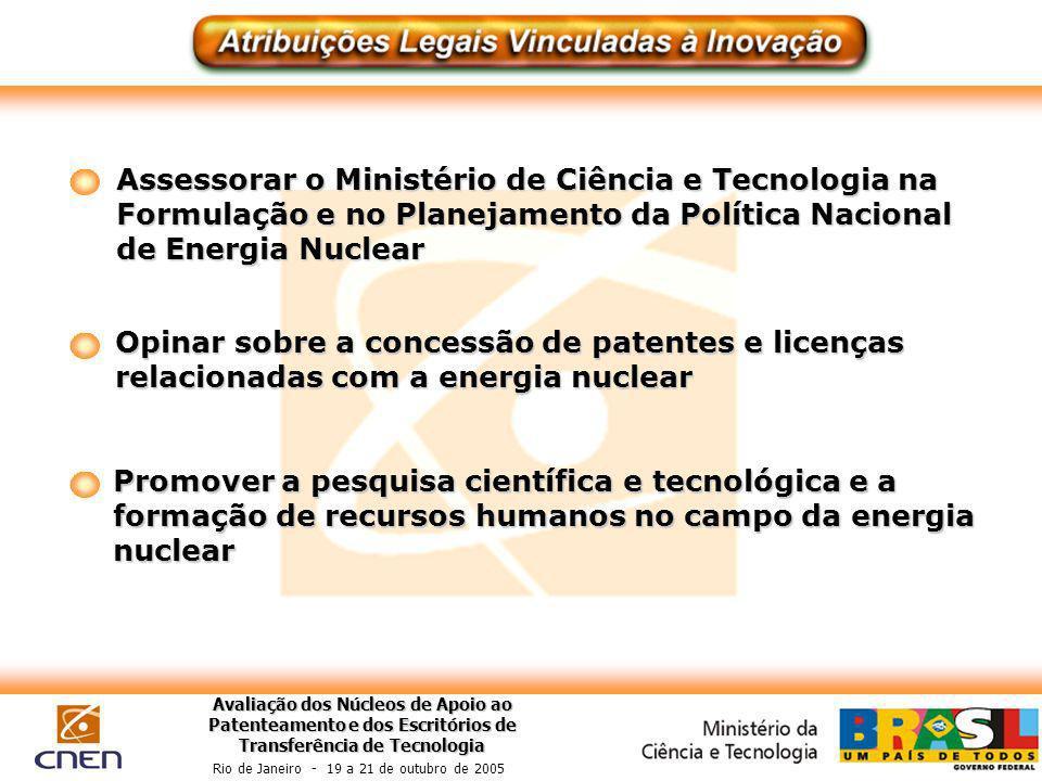 Avaliação dos Núcleos de Apoio ao Patenteamento e dos Escritórios de Transferência de Tecnologia Rio de Janeiro - 19 a 21 de outubro de 2005 Assessora