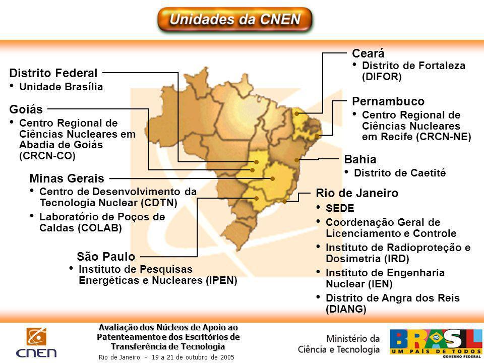 Avaliação dos Núcleos de Apoio ao Patenteamento e dos Escritórios de Transferência de Tecnologia Rio de Janeiro - 19 a 21 de outubro de 2005 Rio de Ja