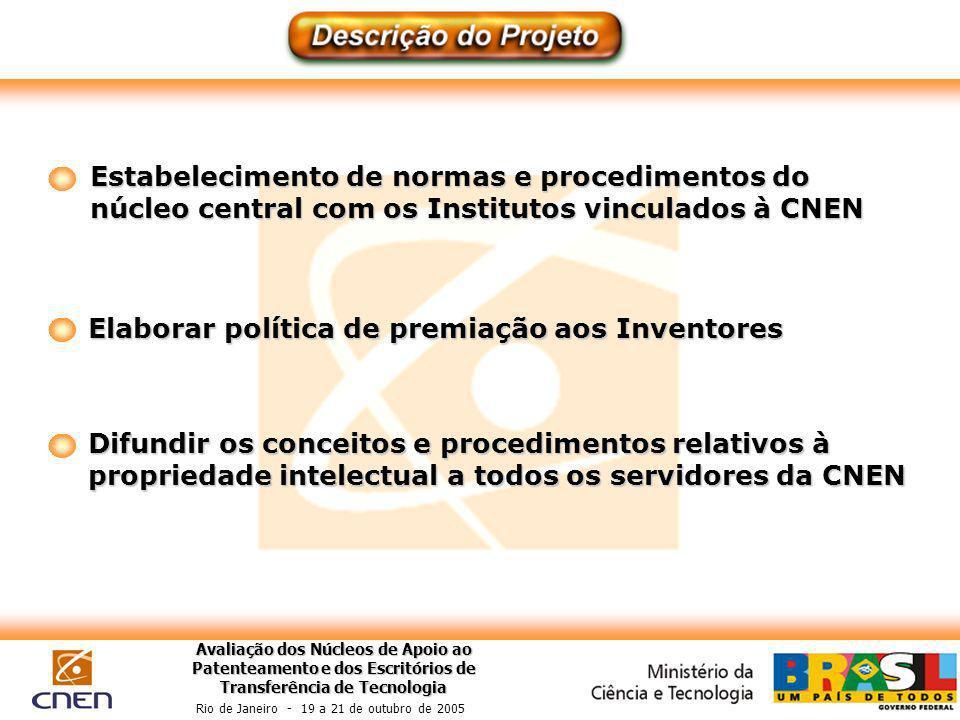 Avaliação dos Núcleos de Apoio ao Patenteamento e dos Escritórios de Transferência de Tecnologia Rio de Janeiro - 19 a 21 de outubro de 2005 Estabelec
