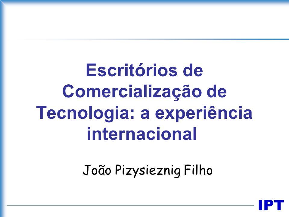 IPT Escopo Original –definir projeto básico para a instalação de escritório de negócios tecnológicos para todo o Estado de São Paulo, com parceria IPT e FIESP Ajustado ao corte no orçamento –papel e o funcionamento do escritórios de negócios tecnológicos, a partir de uma amostra de instituições internacionais