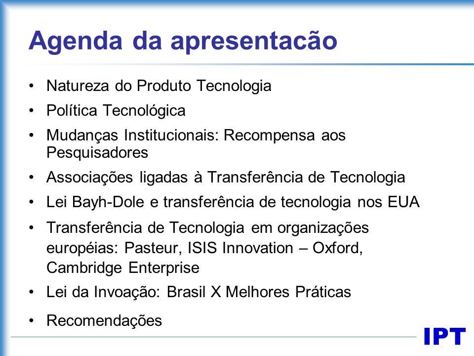 IPT Agenda da apresentacão Natureza do Produto Tecnologia Política Tecnológica Mudanças Institucionais: Recompensa aos Pesquisadores Associações ligad