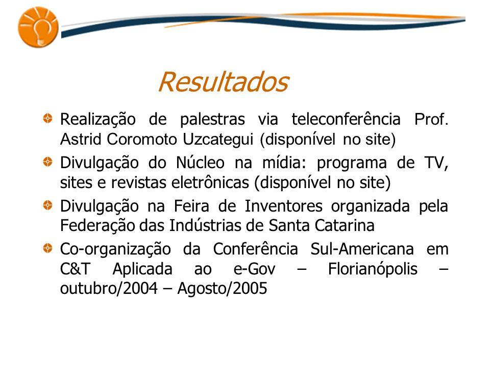 Resultados Realização de palestras via teleconferência Prof. Astrid Coromoto Uzcategui (dispon í vel no site) Divulgação do Núcleo na mídia: programa