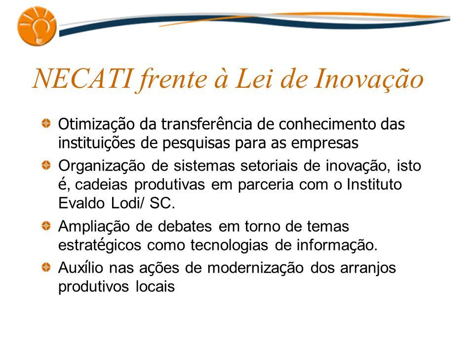 NECATI frente à Lei de Inovação Otimização da transferência de conhecimento das instituições de pesquisas para as empresas Organiza ç ão de sistemas s