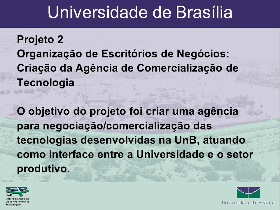 Universidade de Brasília Projeto 2 Organização de Escritórios de Negócios: Criação da Agência de Comercialização de Tecnologia O objetivo do projeto foi criar uma agência para negociação/comercialização das tecnologias desenvolvidas na UnB, atuando como interface entre a Universidade e o setor produtivo.