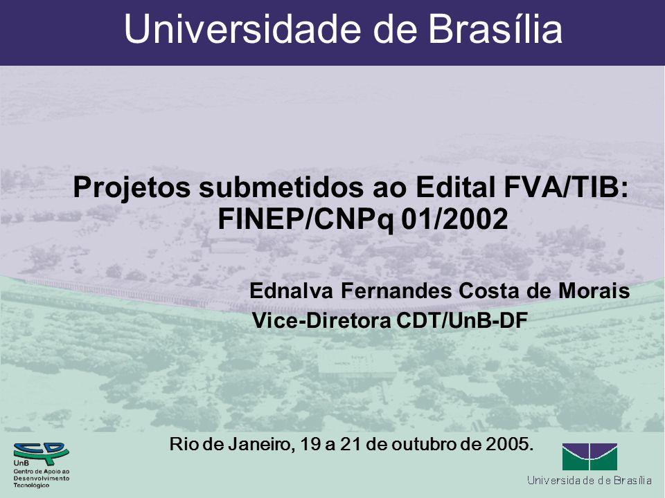 Universidade de Brasília Projetos submetidos ao Edital FVA/TIB: FINEP/CNPq 01/2002 Ednalva Fernandes Costa de Morais Vice-Diretora CDT/UnB-DF Rio de Janeiro, 19 a 21 de outubro de 2005.