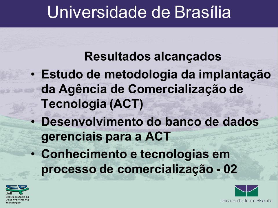 Universidade de Brasília Resultados alcançados Estudo de metodologia da implantação da Agência de Comercialização de Tecnologia (ACT) Desenvolvimento do banco de dados gerenciais para a ACT Conhecimento e tecnologias em processo de comercialização - 02