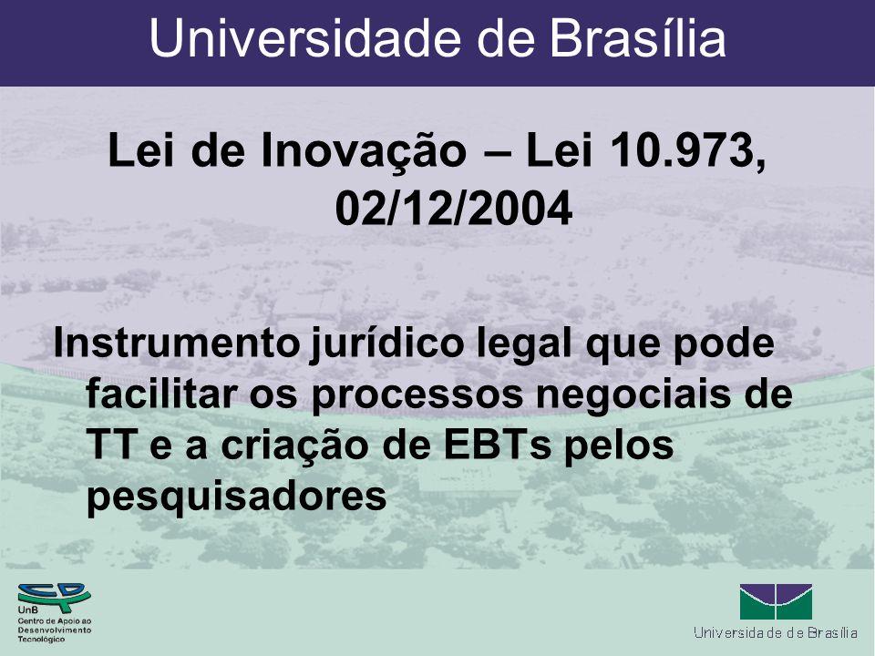 Universidade de Brasília Lei de Inovação – Lei 10.973, 02/12/2004 Instrumento jurídico legal que pode facilitar os processos negociais de TT e a criação de EBTs pelos pesquisadores