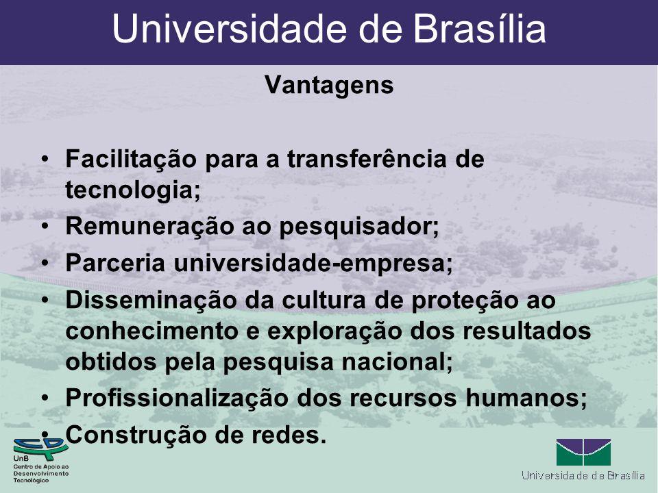 Universidade de Brasília Vantagens Facilitação para a transferência de tecnologia; Remuneração ao pesquisador; Parceria universidade-empresa; Disseminação da cultura de proteção ao conhecimento e exploração dos resultados obtidos pela pesquisa nacional; Profissionalização dos recursos humanos; Construção de redes.