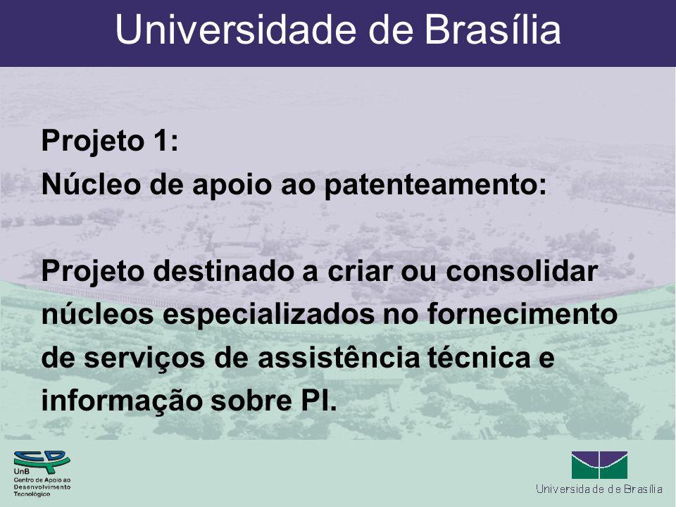 Universidade de Brasília Projeto 1: Núcleo de apoio ao patenteamento: Projeto destinado a criar ou consolidar núcleos especializados no fornecimento de serviços de assistência técnica e informação sobre PI.
