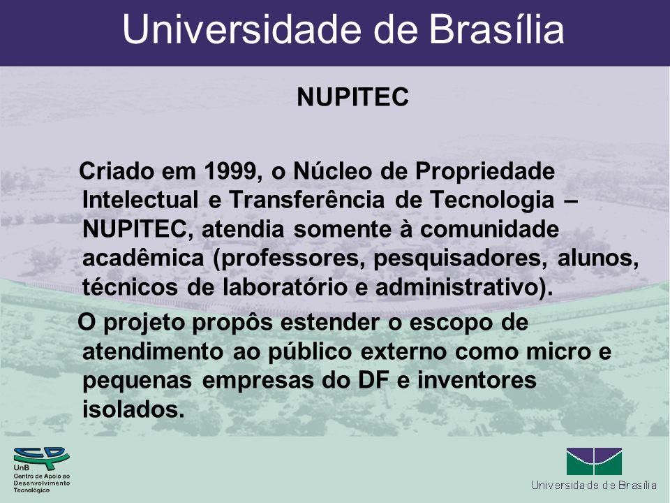 Universidade de Brasília NUPITEC Criado em 1999, o Núcleo de Propriedade Intelectual e Transferência de Tecnologia – NUPITEC, atendia somente à comunidade acadêmica (professores, pesquisadores, alunos, técnicos de laboratório e administrativo).
