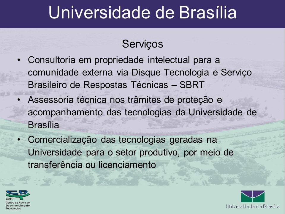 Universidade de Brasília Serviços Consultoria em propriedade intelectual para a comunidade externa via Disque Tecnologia e Serviço Brasileiro de Respo