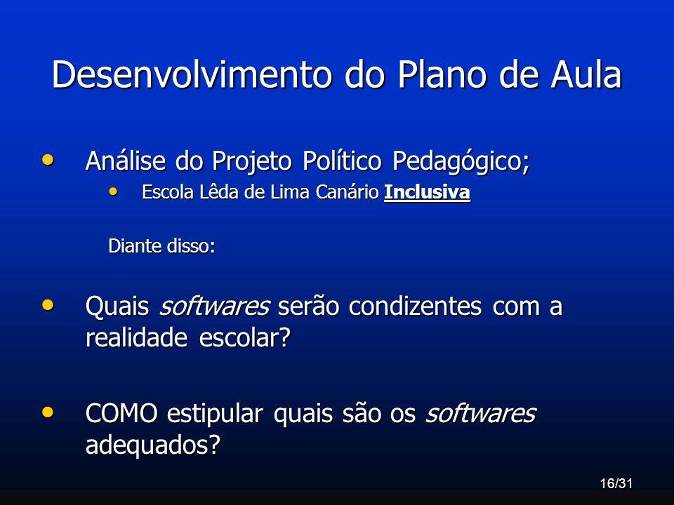 16/31 Desenvolvimento do Plano de Aula Análise do Projeto Político Pedagógico; Análise do Projeto Político Pedagógico; Escola Lêda de Lima Canário Inc