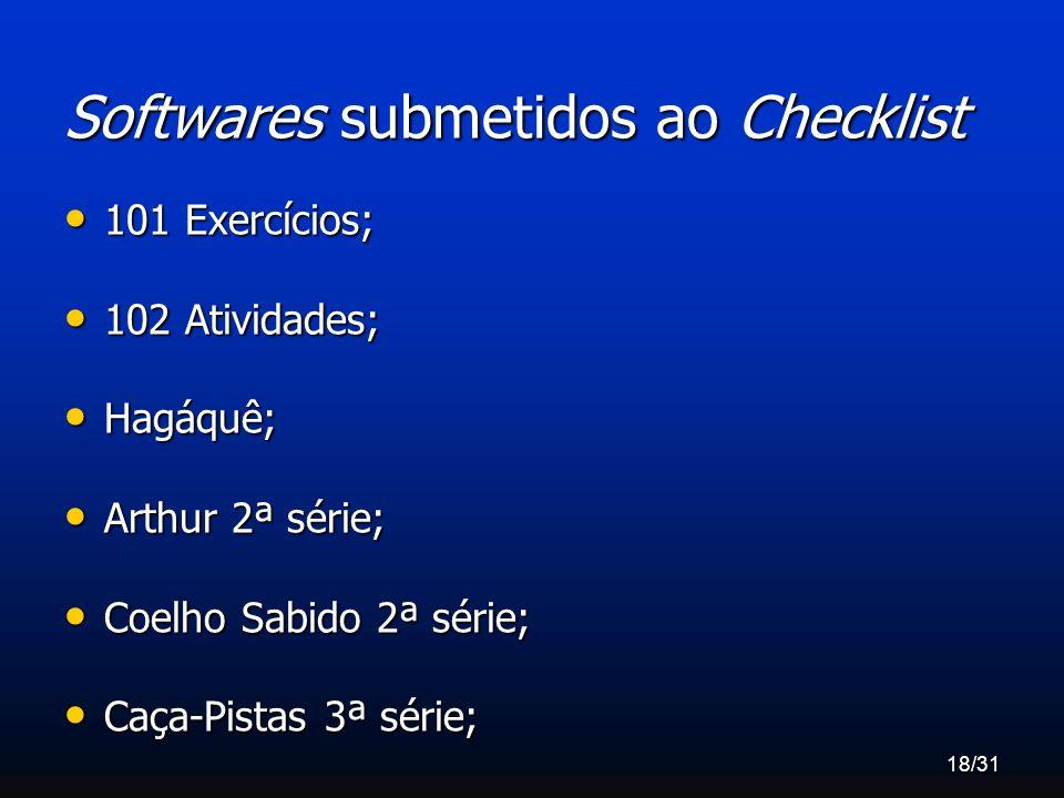 18/31 Softwares submetidos ao Checklist 101 Exercícios; 101 Exercícios; 102 Atividades; 102 Atividades; Hagáquê; Hagáquê; Arthur 2ª série; Arthur 2ª s