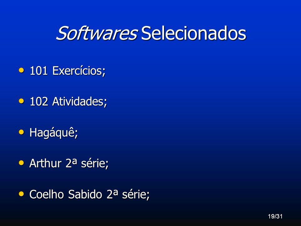 19/31 Softwares Selecionados 101 Exercícios; 101 Exercícios; 102 Atividades; 102 Atividades; Hagáquê; Hagáquê; Arthur 2ª série; Arthur 2ª série; Coelh