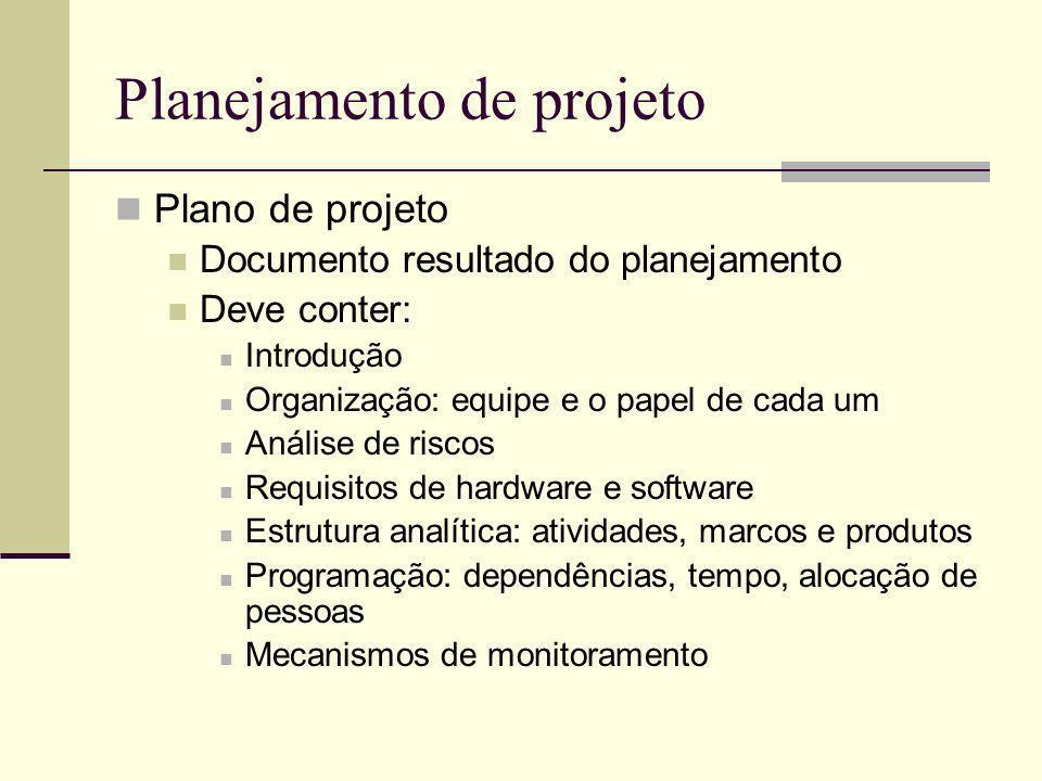 Planejamento de projeto Plano de projeto Documento resultado do planejamento Deve conter: Introdução Organização: equipe e o papel de cada um Análise
