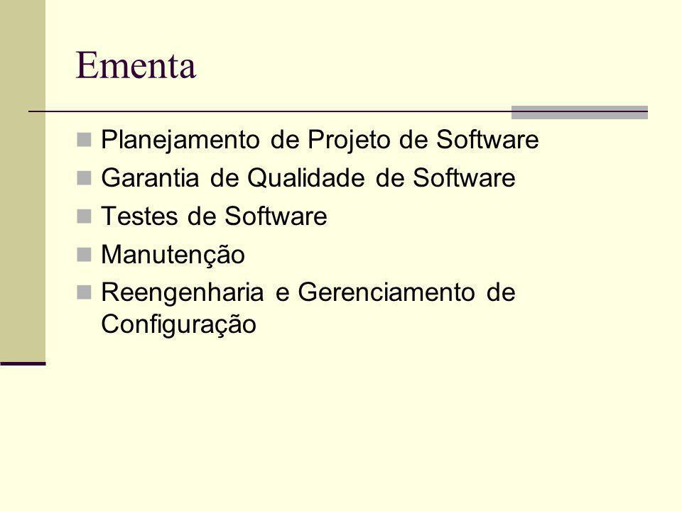 Ementa Planejamento de Projeto de Software Garantia de Qualidade de Software Testes de Software Manutenção Reengenharia e Gerenciamento de Configuraçã