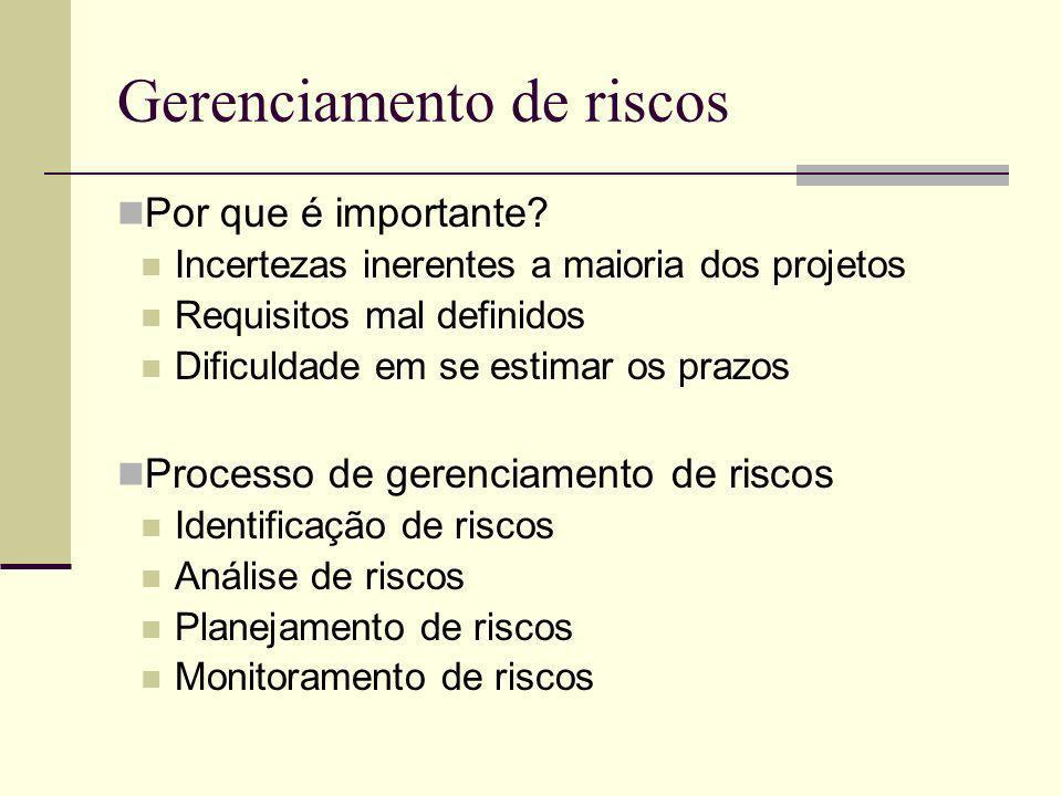 Gerenciamento de riscos Por que é importante? Incertezas inerentes a maioria dos projetos Requisitos mal definidos Dificuldade em se estimar os prazos