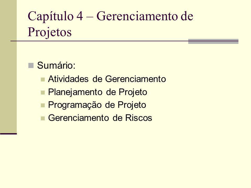 Capítulo 4 – Gerenciamento de Projetos Sumário: Atividades de Gerenciamento Planejamento de Projeto Programação de Projeto Gerenciamento de Riscos