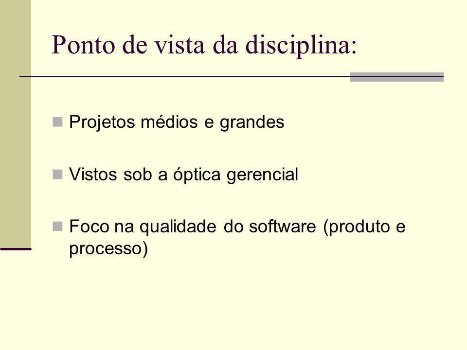 Ponto de vista da disciplina: Projetos médios e grandes Vistos sob a óptica gerencial Foco na qualidade do software (produto e processo)