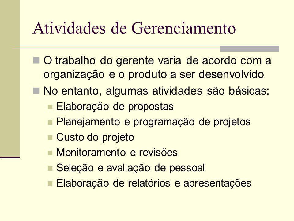 Atividades de Gerenciamento O trabalho do gerente varia de acordo com a organização e o produto a ser desenvolvido No entanto, algumas atividades são