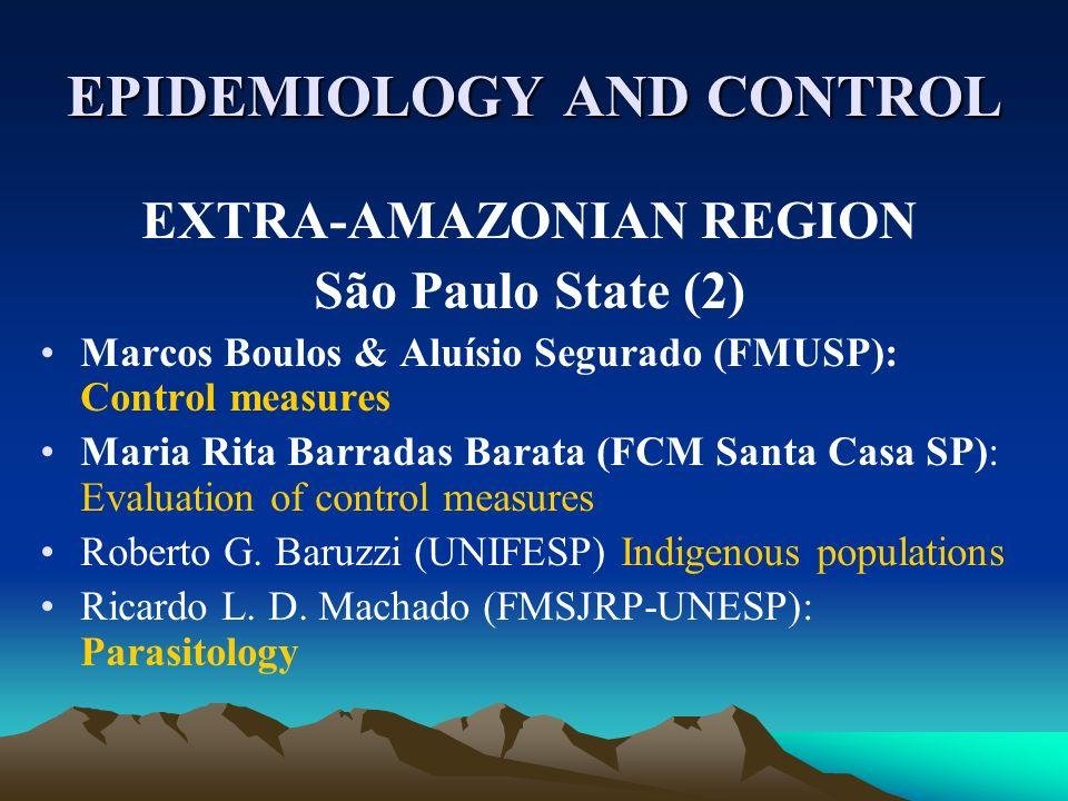 EPIDEMIOLOGY AND CONTROL EXTRA-AMAZONIAN REGION São Paulo State (2) Marcos Boulos & Aluísio Segurado (FMUSP): Control measures Maria Rita Barradas Barata (FCM Santa Casa SP): Evaluation of control measures Roberto G.