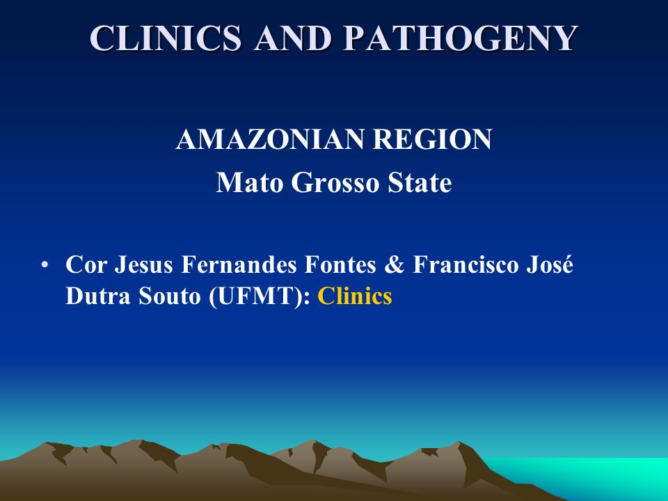 CLINICS AND PATHOGENY AMAZONIAN REGION Mato Grosso State Cor Jesus Fernandes Fontes & Francisco José Dutra Souto (UFMT): Clinics