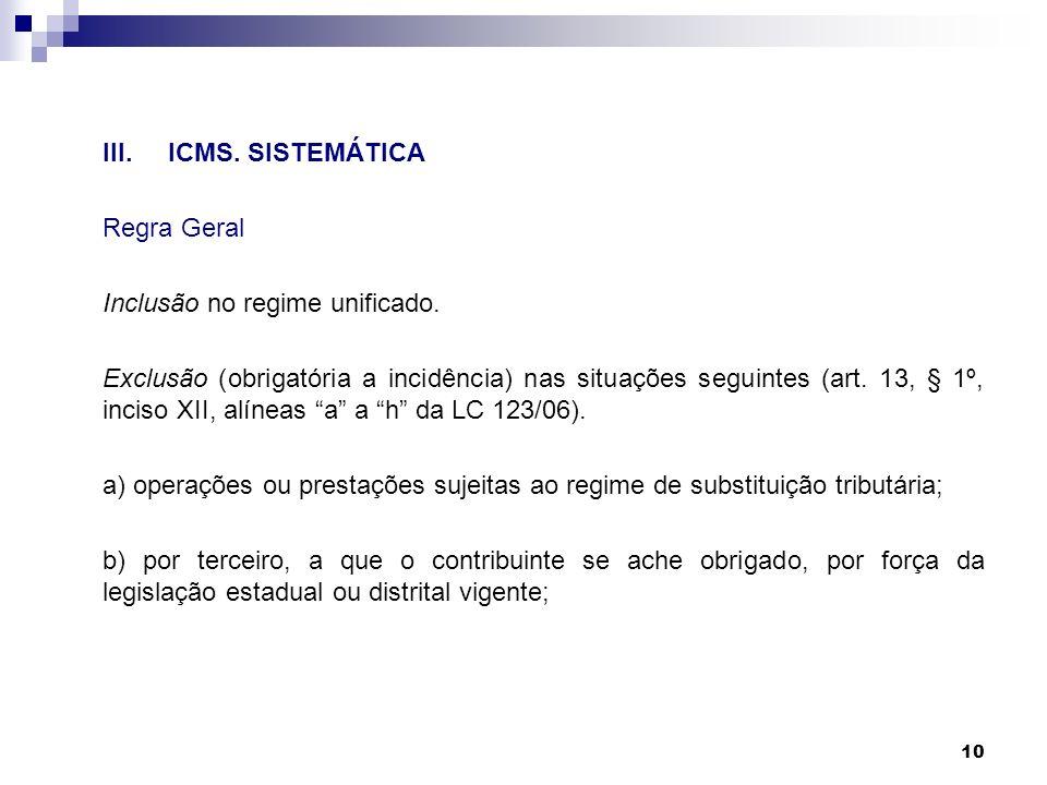 10 III.ICMS. SISTEMÁTICA Regra Geral Inclusão no regime unificado. Exclusão (obrigatória a incidência) nas situações seguintes (art. 13, § 1º, inciso
