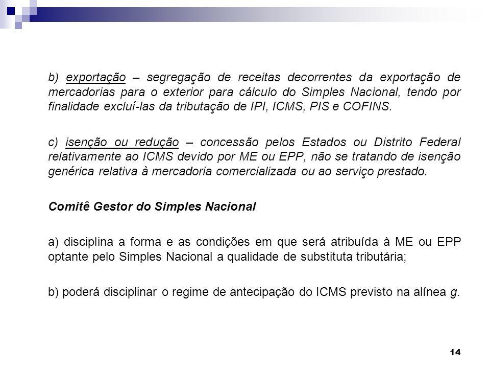 14 b) exportação – segregação de receitas decorrentes da exportação de mercadorias para o exterior para cálculo do Simples Nacional, tendo por finalid