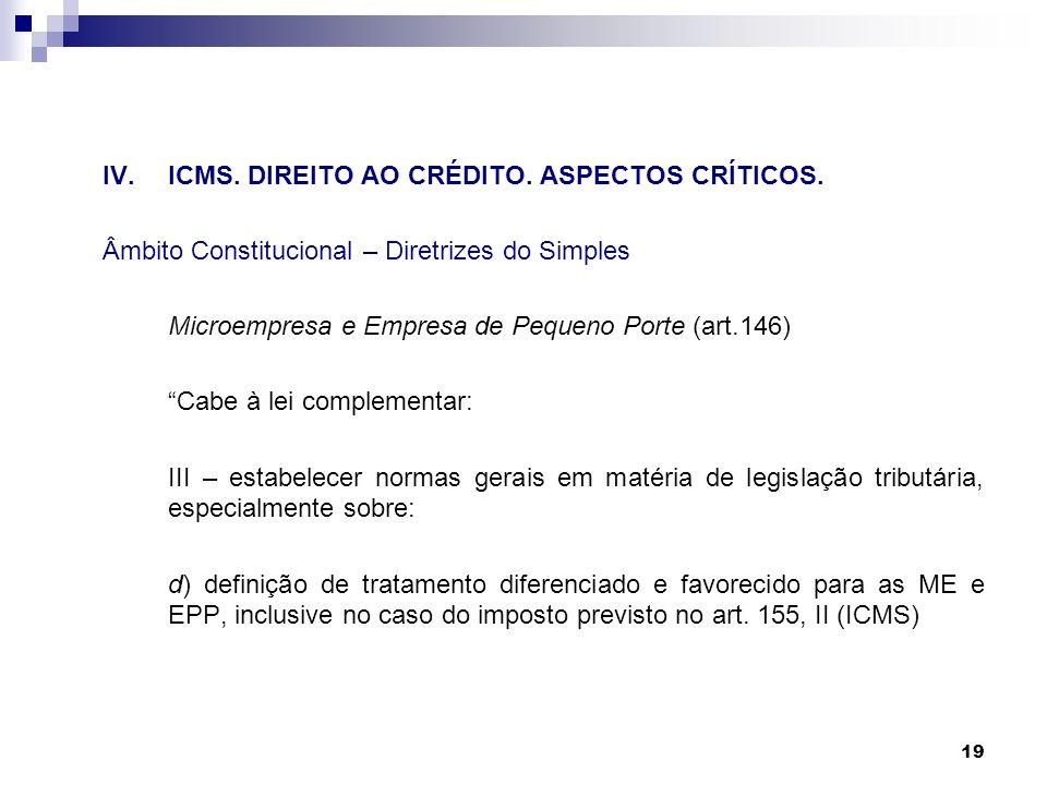 19 IV.ICMS. DIREITO AO CRÉDITO. ASPECTOS CRÍTICOS. Âmbito Constitucional – Diretrizes do Simples Microempresa e Empresa de Pequeno Porte (art.146) Cab