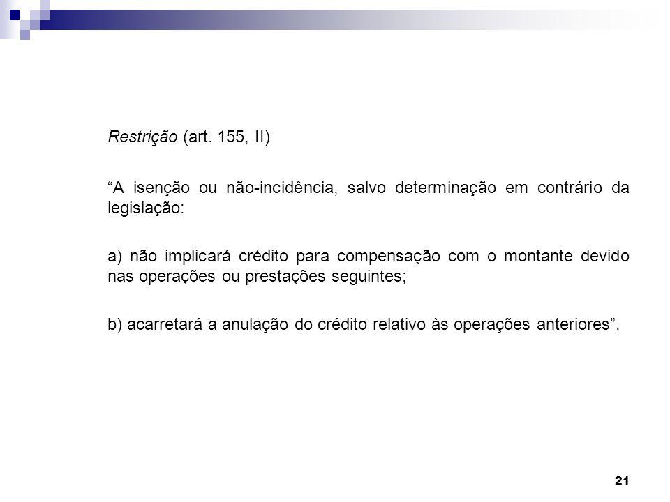 21 Restrição (art. 155, II) A isenção ou não-incidência, salvo determinação em contrário da legislação: a) não implicará crédito para compensação com